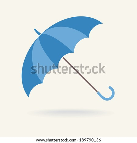 Blue Umbrella, vector icon - stock vector