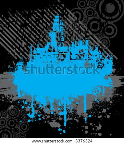 blue urban graphic - stock vector