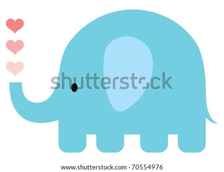 Blue Valentine elephant with hearts. - stock vector