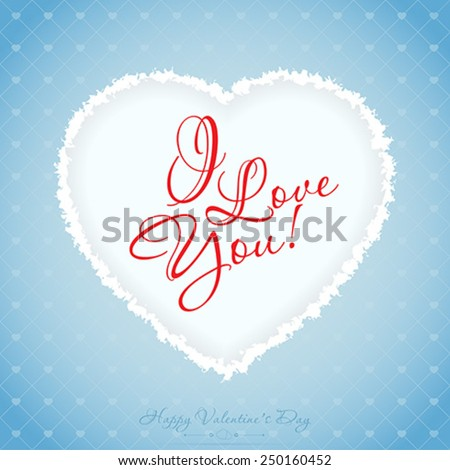 Blue Valentines Day Greeting Card with Pattern - stock vector