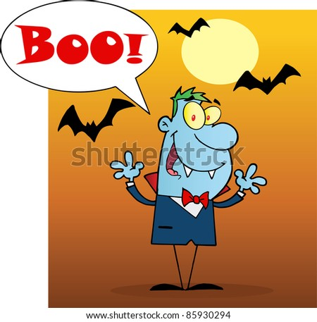 Blue Vampire Yelling Boo And Holding Up His Arms - stock vector