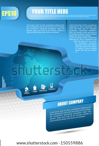 Blue vector abstract background for brochure, flyer, poster or website with information icons   - stock vector