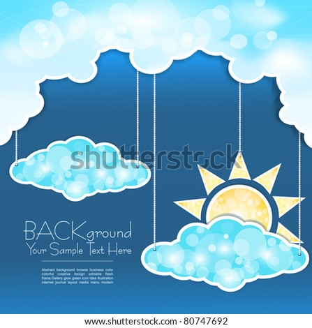 blue vector abstract background with clouds and sun