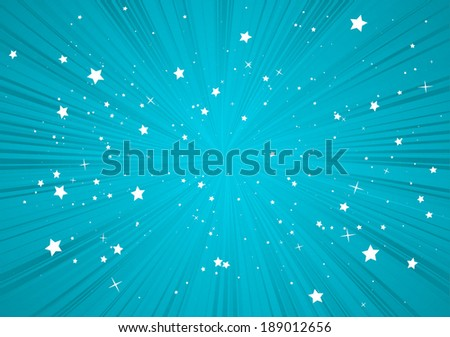 Blue vector abstract burst background illustration - Vector blue blast of stars background  template - stock vector