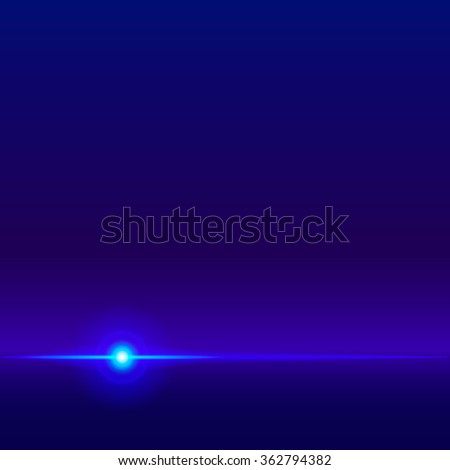 Blue vector abstract glowing background, shining horizon line, light flare. Blue shine lighting effect, space background. Blue laser beam, neon light effect, Vector illustration bright lens flare. - stock vector