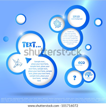 blue vector background, with bubbles, places for the text and some ecological logos - stock vector