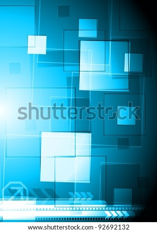 Blue vector background with squares. Eps 10
