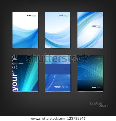 Blue vector brochure / booklet cover design templates collection - stock vector