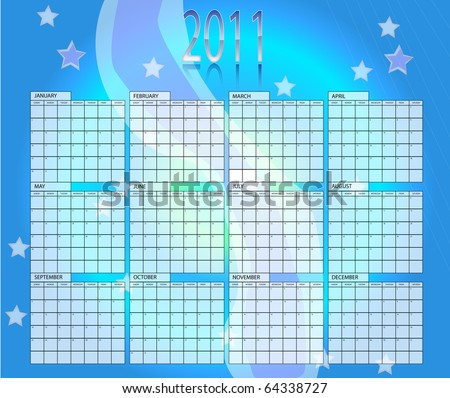 Blue vector calender of year 2011 - stock vector