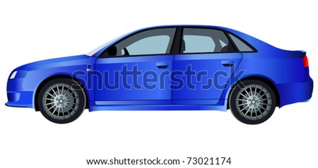 Blue vector car. (simple gradients only, no gradient mesh) - stock vector