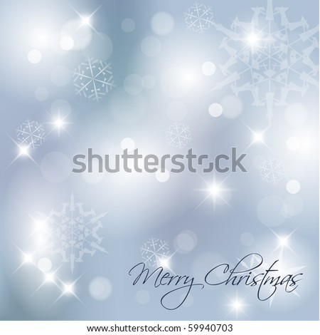 Blue Vector Christmas background with white snowflakes and place for your text - stock vector