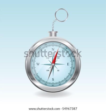 Blue vector compass - stock vector