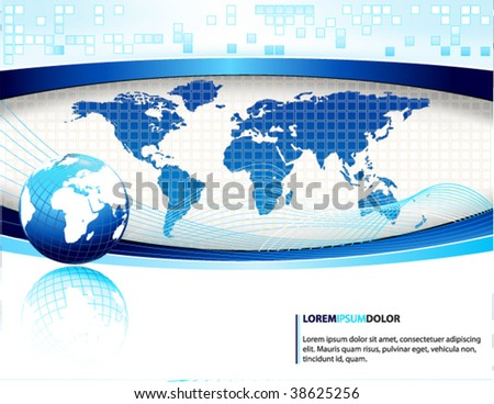 blue vector design template with earth globe