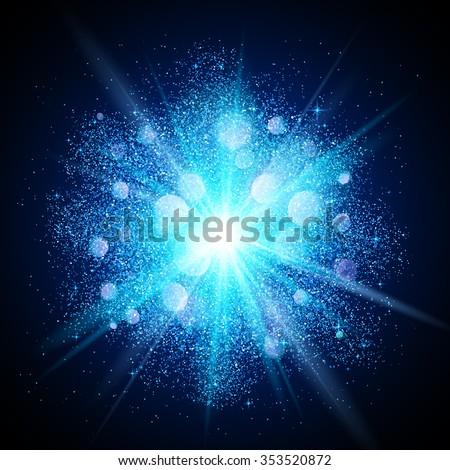 Blue vector dust explosion on black background - stock vector