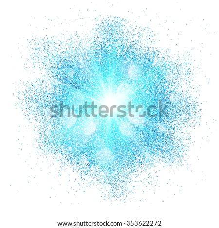 Blue vector dust explosion splash on white background - stock vector