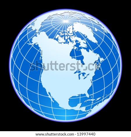 Blue vector globe. North America. - stock vector