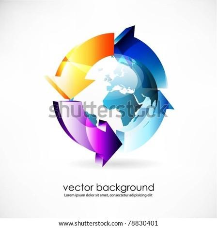 blue vector globe surface with 3d arrows - stock vector