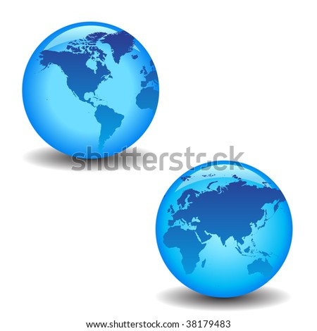 blue vector globes with continents and shadows