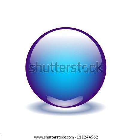 blue vector glossy sphere - stock vector
