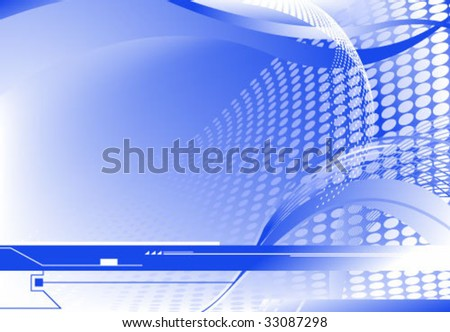Blue vector horizontal sci-fi abstract background, gradient mesh used - stock vector