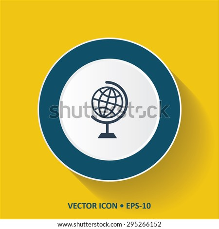 Blue vector Icon of Globe on Yellow Color Background with Long Shadow. Eps.10. - stock vector