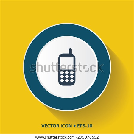 Blue vector Icon of Mobile Phone on Yellow Color Background with Long Shadow. Eps.10. - stock vector