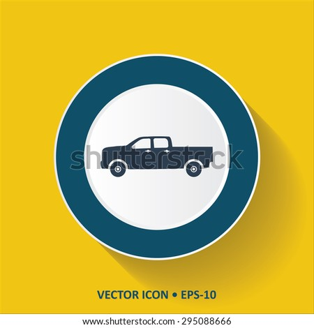 Blue vector Icon of Pickup truck. Classic truck on Yellow Color Background with Long Shadow. Eps.10. - stock vector