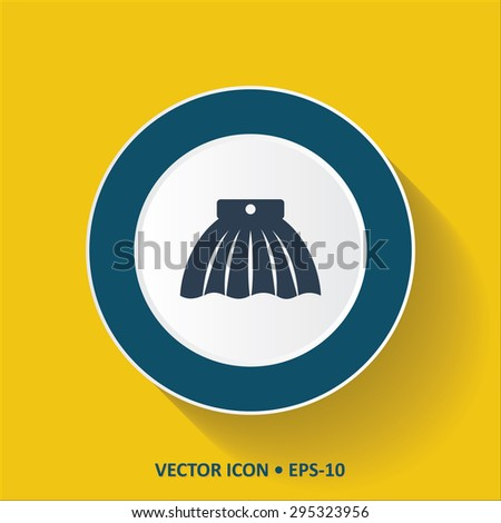 Blue vector Icon of Skirt on Yellow Color Background with Long Shadow. Eps.10
