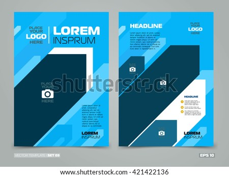 Blue Green Vector Leaflet Brochure Flyer Stock Vector 421422148