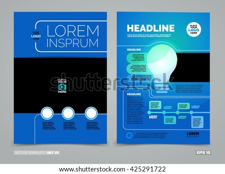 Blue Green Vector Leaflet Brochure Flyer Stock Vector 421422145