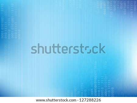 Blue vector lines Background with binary code - stock vector
