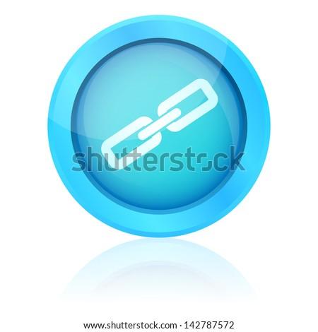 Blue vector link button - stock vector