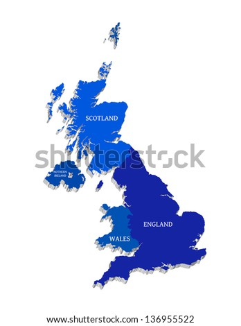 Blue vector map of Great Britain - stock vector