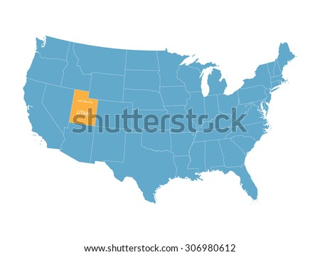blue vector map of United States with indication of Utah - stock vector