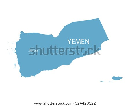 blue vector map of Yemen with indication of Sanaa - stock vector