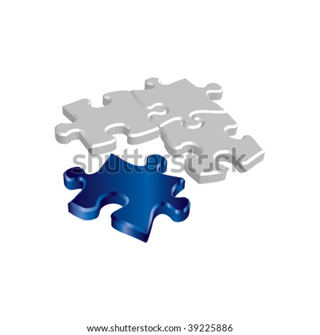 Blue vector puzzle - stock vector