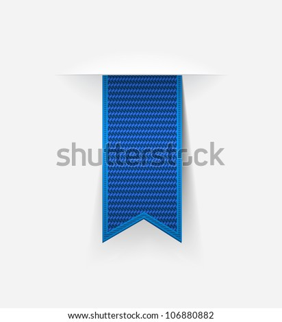 Blue vector ribbon tag with detailed texture - stock vector