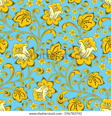 Blue vector seamless floral pattern in the traditional style - stock vector