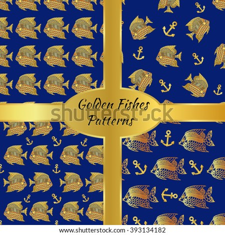 Blue vector seamless pattern set with goldfish