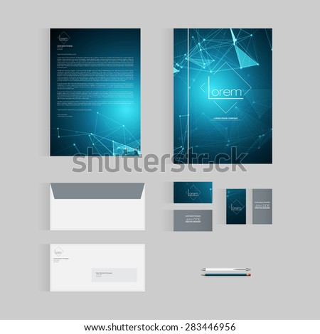 Blue Vector Stationery Template Design for Business - stock vector