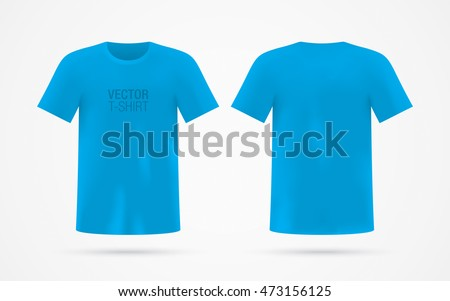 Blue vector tshirt template isolated on stock vector for T shirt mockup vector free