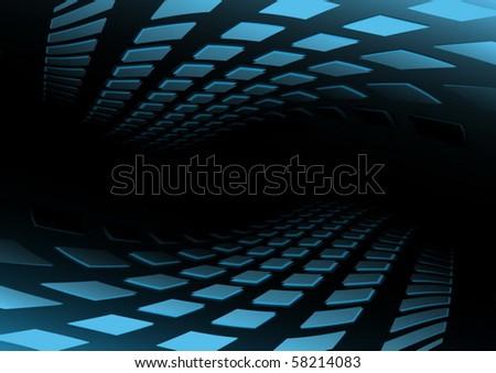 Blue vector tunnel illustration - stock vector