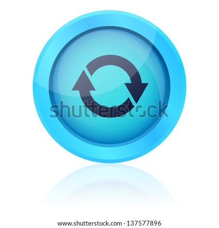 Blue vector update button - stock vector