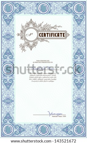 Blue vector vertical certificate template - stock vector