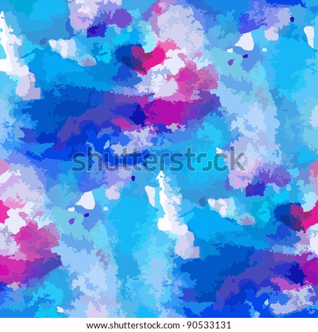 blue vector watercolour stroke brush texture abstract watercolor background - stock vector