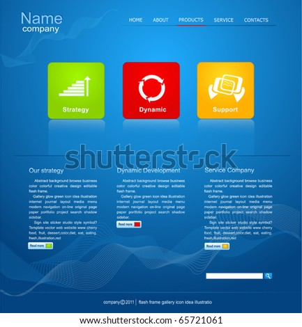 blue Vector Web site for business - stock vector