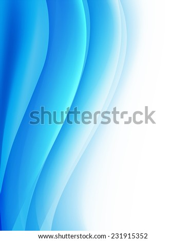 blue vertical background with folding waves  - stock vector