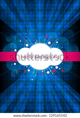 Blue vertical music background with circles. Vector version. - stock vector
