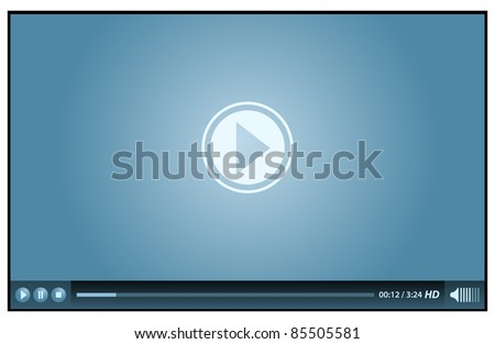 blue video player for web - stock vector