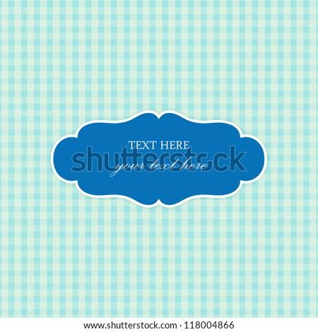 Blue Vintage Card, Plaid Design - stock vector
